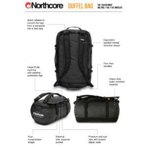 Northcore 110L Reisetasche mit Rollen